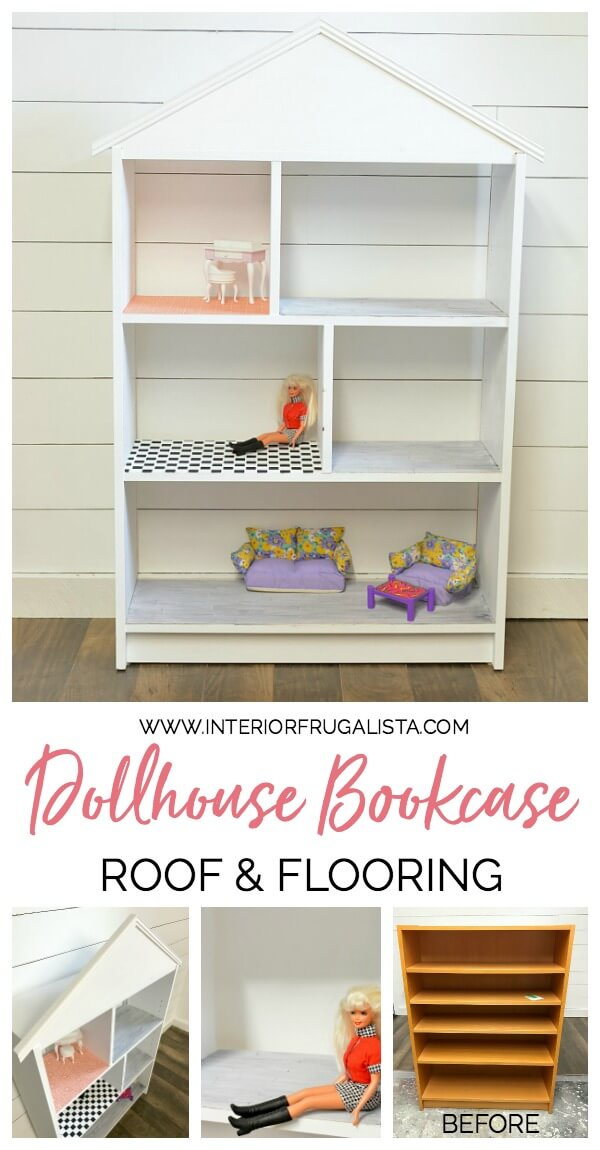 An adorable IKEA Billy Bookcase Dollhouse Bookcase and how to add a pitched roof, real hardwood floors, black & white checkerboard and papered floors. #diydollhouse #dollhouseminiaturesdiy #dollhouseideas #repurposedbookcase