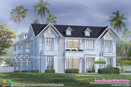 Beautiful western model sloping roof house rendering in Kerala