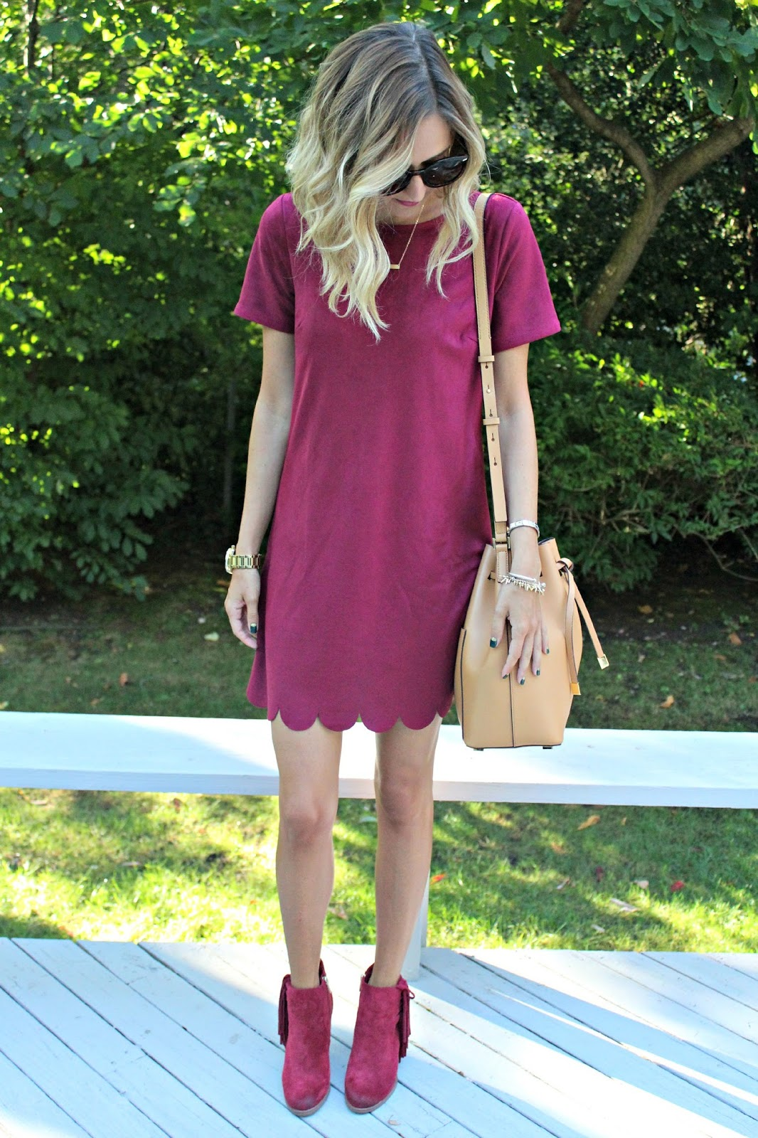 burgundy dress and booties