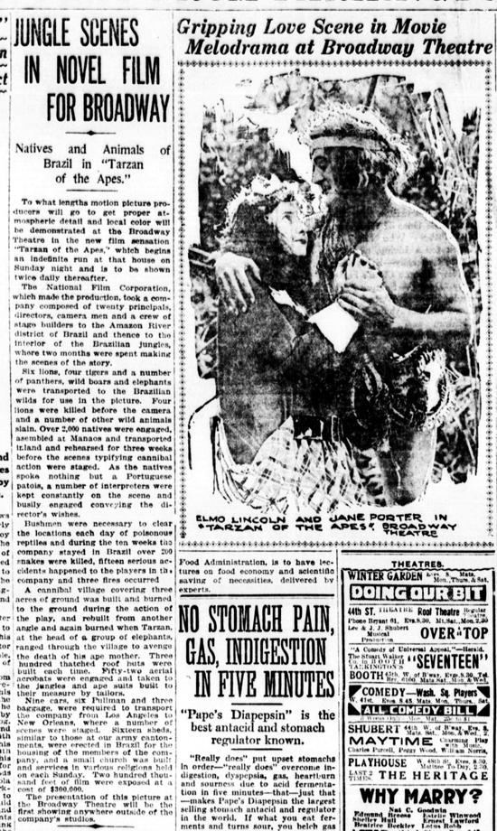 Tarzan of the Apes newspaper ad January 26, 1918