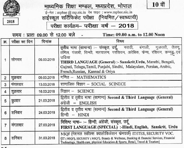 MP Board 10th Class Exam Time Table 2018