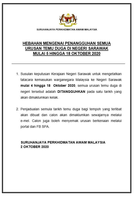 Temuduga SPA Sarawak Oktober 2020