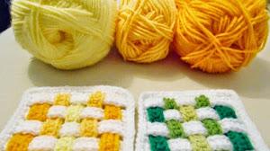 Cómo hacer agarraderas con diseño entrelazado crochet paso a paso
