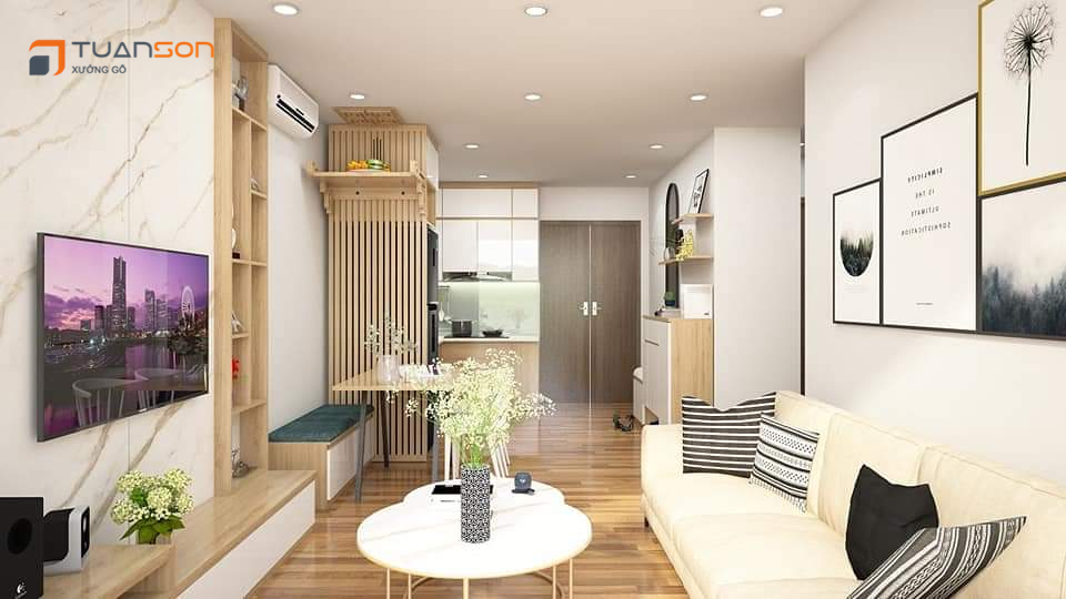 Thiết kế nội thất: Căn hộ 55m2 (2PN+1) Vinhomes Smart City Tây Mỗ