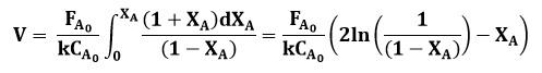 Expresión final de la ecuación para calcular el volumen del reactor de flujo pistón o PFR