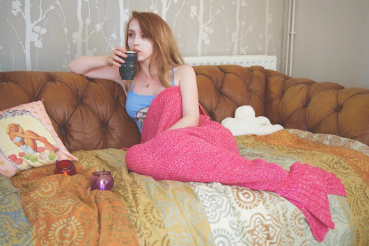 recovering from the reading festival under my mermaid blanket