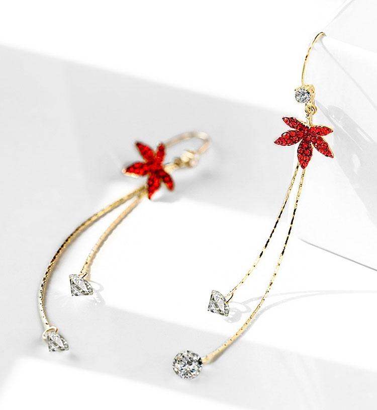 楓紅鋯石水晶流蘇耳環