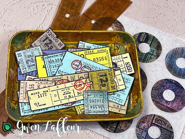 Gwen Lafleur PaperArtsy May 2021 Stamp Release - EGL17 Vintage Tickets - Stamped Tickets & Stickers