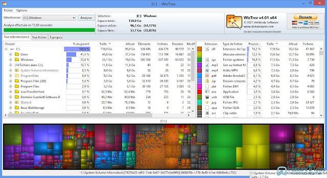 WizTree : pour analyser l'espace disque et identifier les fichiers et dossiers qui prennent de la place