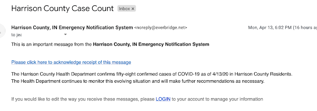 Screenshot of an email from a Harrison County Case Count noreply email address about number of cases in that county. A sentence at the bottom tells me that if I want to manage the way I receive the messages, I need to login to my account.