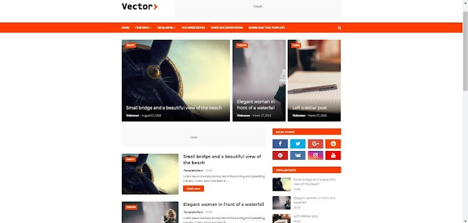 Vector Blogger template (SEO friendly, Ads Ready, AMP, responsive theme)