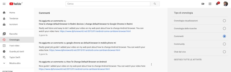cronologia commenti youtube