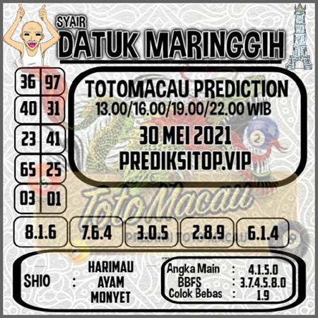 Syair Top Datuk Maringgih Toto Macau Minggu 30 Mei 2021