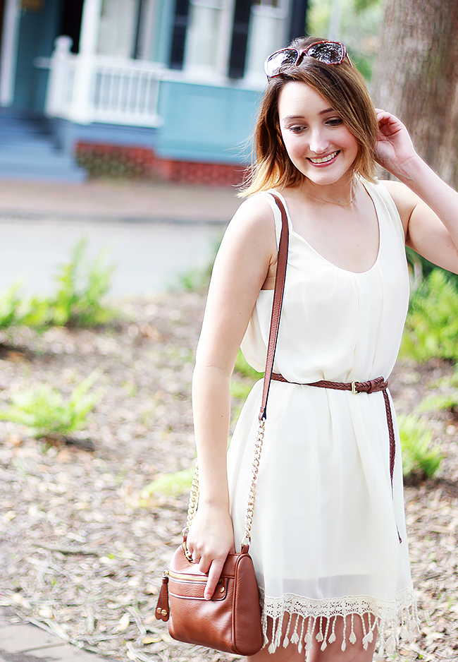 White Tassel Dress, BP Nordstrom Crossbody Bag