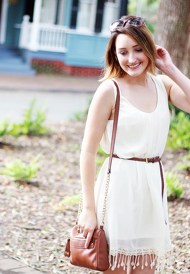White Tassel Dress, BP Nordstrom Crossbody Bag