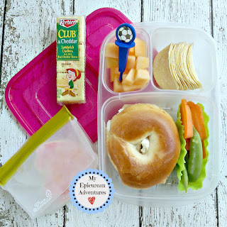 Lunch box ideas, school lunch ideas, lunches, bagel sandwich lunch