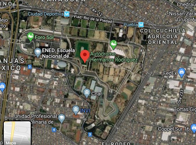 Mapa de Como llegar al Autodromo Hermanos Rodriguez en carro