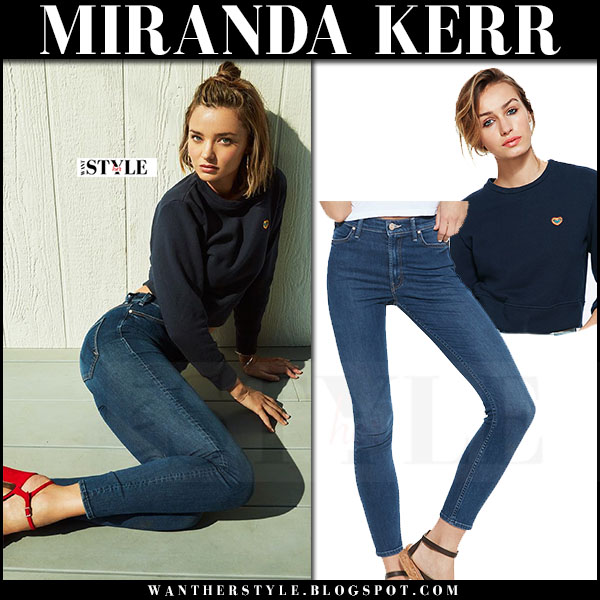 Miranda Kerr in blue sweatshirt and skinny jeans in Miranda x Mother capsule collection what she wore