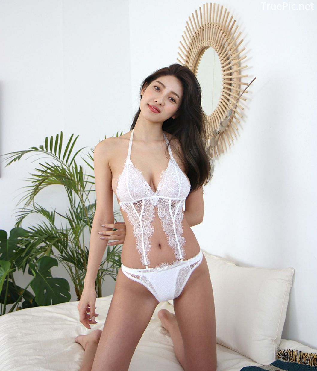 Jeon Ji Su - Bohemian lace white Lingerie - Korean model and fashion - Picture 6