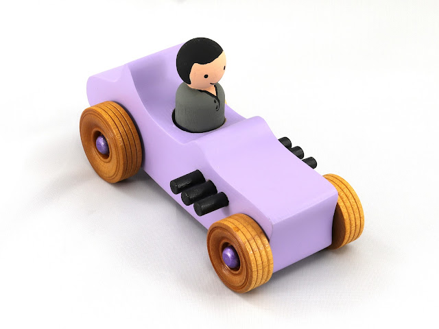 Handmade Wooden Toy Car Hot Rod T-Bucket Drilled After Painting