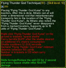 naruto castle defense 6.0 Flying Thunder God Technique detail