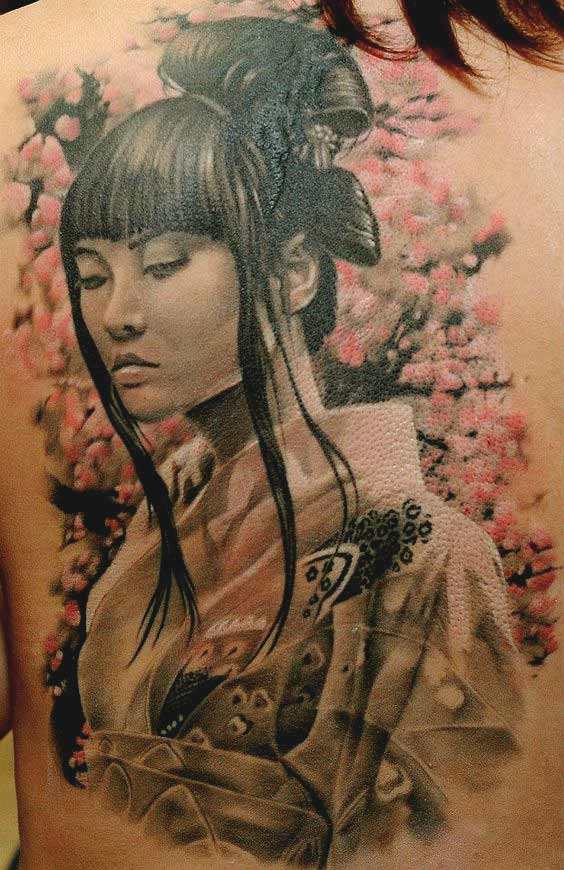 Geisha with closed eye tattoo designs on back ideas for girls