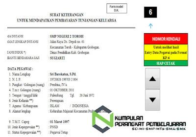 Format KP4 Untuk Keterangan Tunjangan Keluarga Versi Aplikasi
