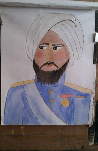"""Maharajah of Kashmir"" sketch by Gloria Poole; yr 2007"