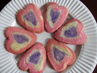 three colored heart cookies