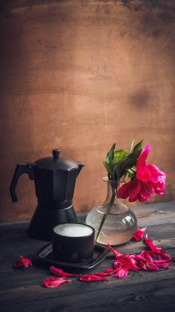 Peony Flower wallpaper, petals, coffee, mug, kettle