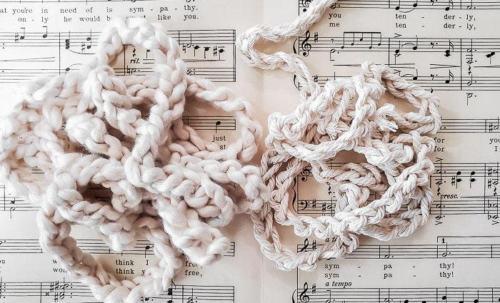 crochet chain made with fluffy cotton yard and macrame cord