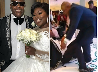 Toyin Lawani shares video the moment her stepfather Sir Shina Peters tumble while dancing 'Gbese' at his daughter's wedding