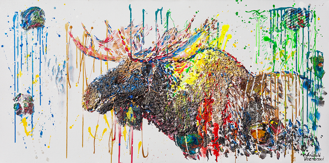 moose painting,moose 3d , abstract moose, moose pop art, moose mixed, moose acrylic, moose voznarski, moose wall art, unique moose, dot moose, modern moose, pointillism moose, original moose