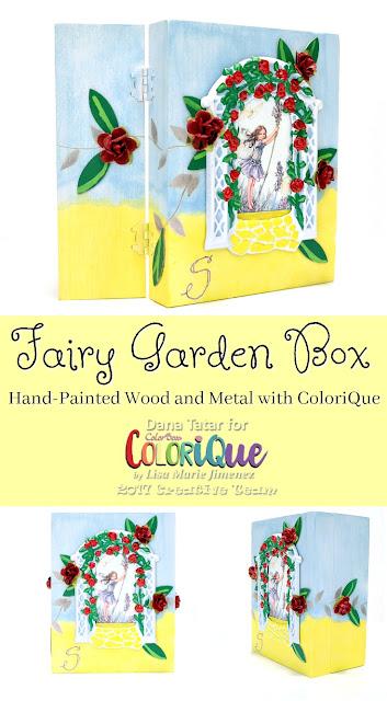 Whimsical Fairy Garden Box Tutorial by Dana Tatar for ColoriQue by Lisa Marie Jimenez