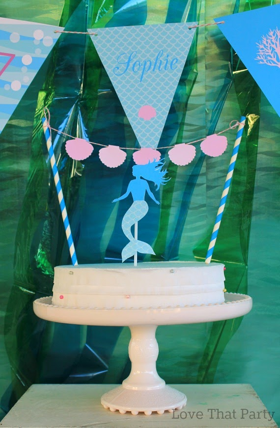 image of mermaid party birthday cake