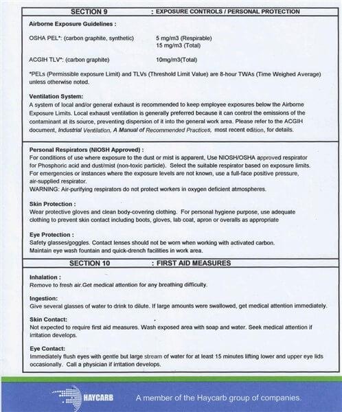 Material Safety Data Sheet (MSDS) Karbon Aktif Haycarb