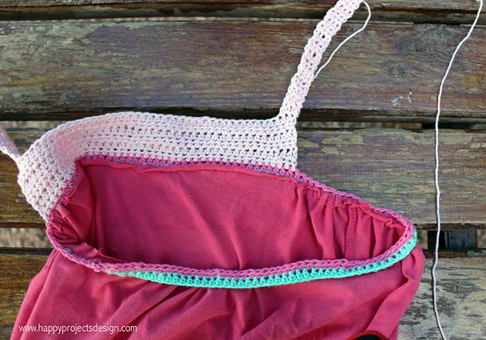 DIY corpiño de ganchillo para vestido de punto