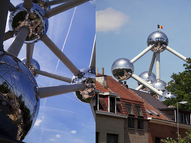 Atomium Brüssel im Sommer vor blauem Himmel und mit Häusern zum Größenvergleich!