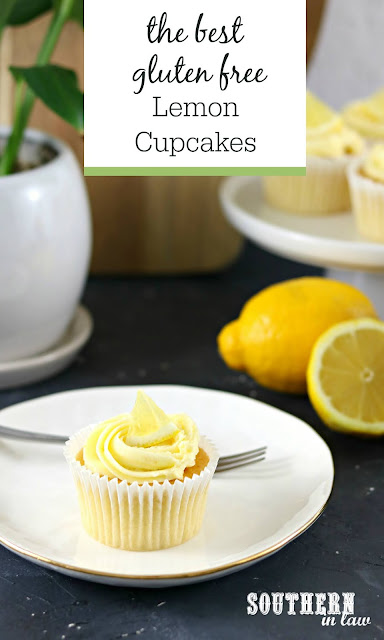 The Best Gluten Free Lemon Cupcakes Recipe - light, fluffy, easy, quick, dessert, lemon buttercream frosting recipe