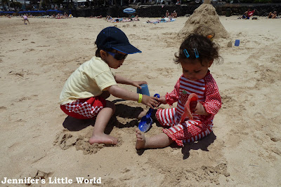 Children on beach in Lanzarote