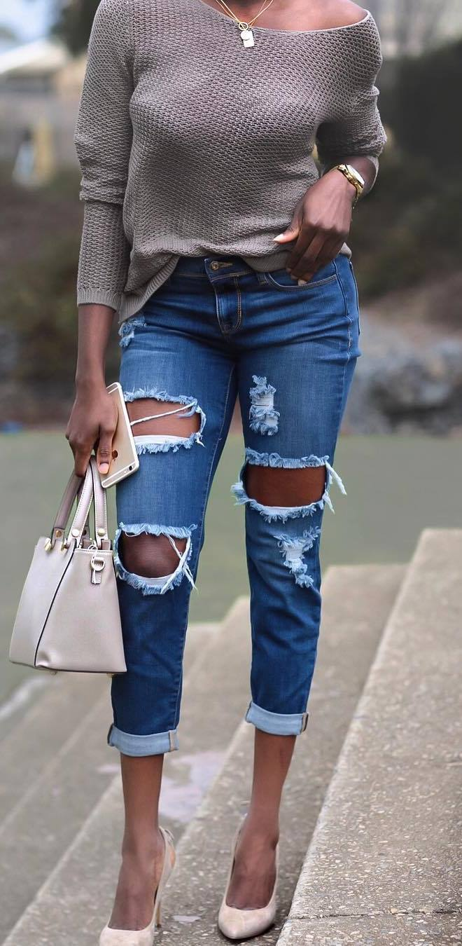 cool outfit idea / one shoulder sweater + ripped jeans + heels + bag