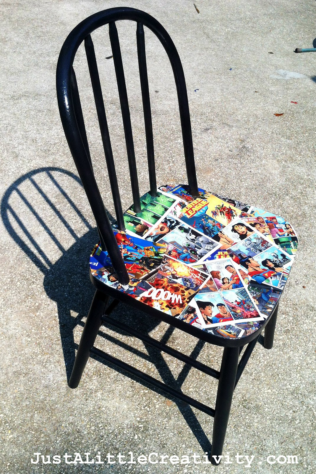 Chair Covers Craft Ideas Upholstered Accent Chairs Kapow Comic Book Makeover Comics Spray Paint Mod