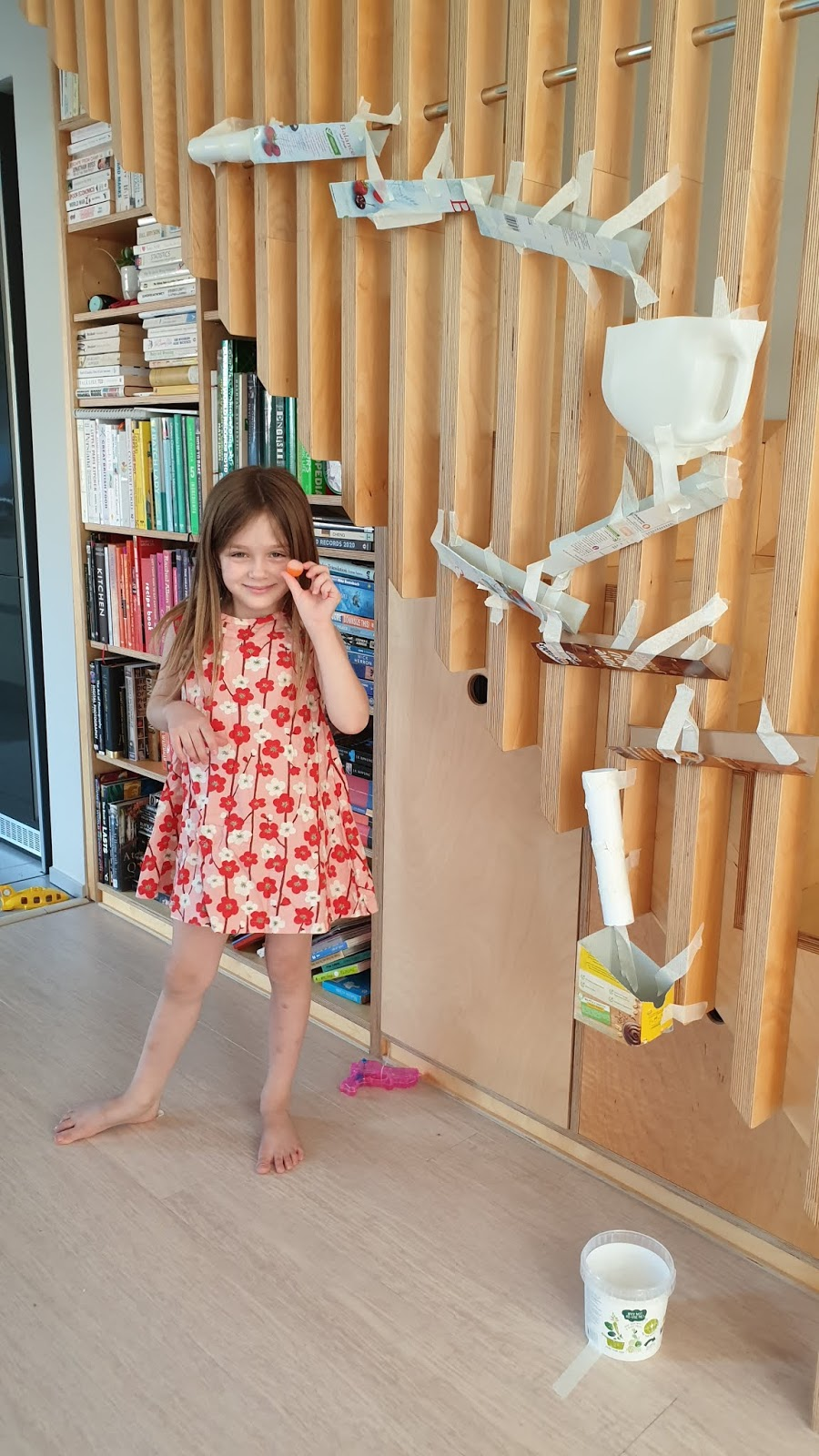 homemade marble run from recycling