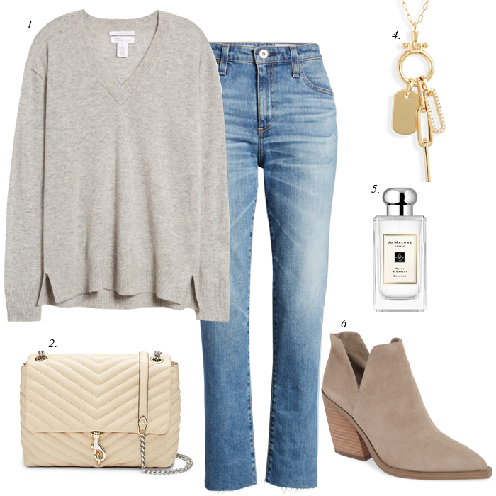 fall outfit v-neck sweater jeans ankle boots