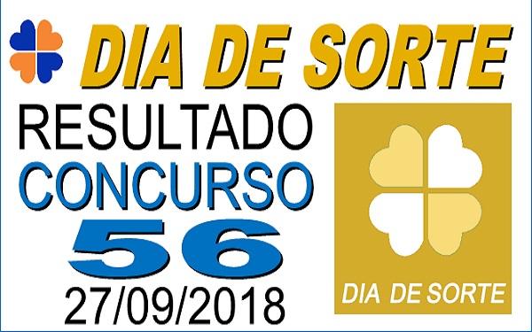 Resultado do Dia de Sorte concurso 56 de 27/09/2018 (Imagem: Informe Notícias)