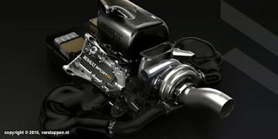 vista 3/4 posteriore motore Renault Sport