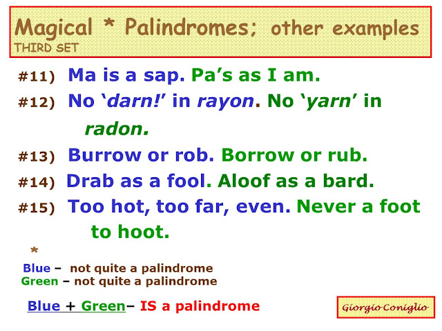 wordplay; palindrome; 'magical palindrome'; novelty
