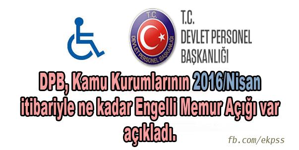 Kamu Kurumlarının Engelli Memur Açığı Sayıları