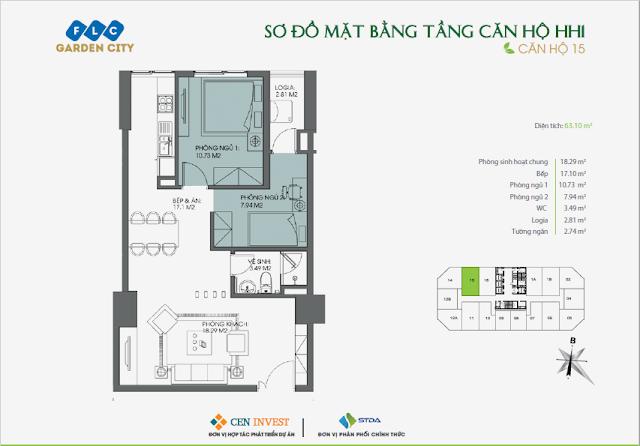 Thiết kế căn hộ 15, 63m, HH1 FLC Garden City