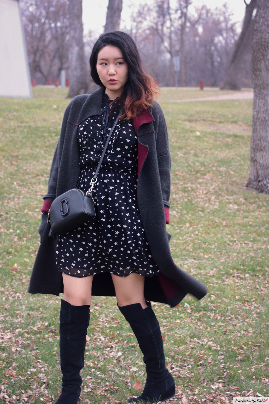 OOTD: Denim & Supply Ralph Lauren Star Print Dress, Marc Jacobs Shutter Bag, Black Suede Knee High Boots